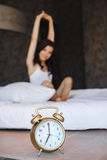 Early morning a young beautiful woman Stock Images