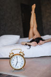 Early morning a young beautiful woman royalty free stock photography