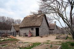 Early New England Settlement. An early New England Settlement home Stock Image