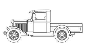 Early Pickup Truck Outline. An early old fashioned pickup truck over a white background Stock Photo