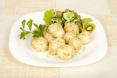 Early Potatoes cooked with salad Royalty Free Stock Photo