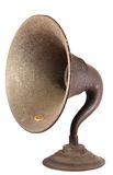 Early Radio Loudspeaker Horn. The loudspeaker horn from an early, exposed tube, shelf type  radio set Stock Photography