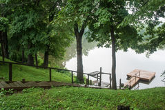 Early rainy morning on the bank of the Barren creek, Illinois, USA Royalty Free Stock Image