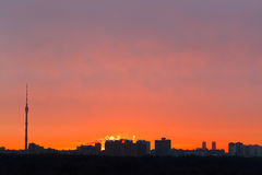 Early red dawn over city Royalty Free Stock Images