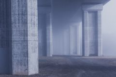 early rope fog motorway bridge Royalty Free Stock Photo