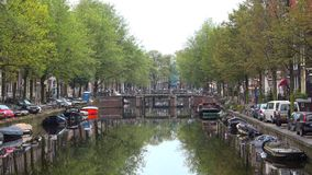 Early september morning on the city channel. Amsterdam, Netherlands. Early september morning on the city channel. Amsterdam. Netherlands stock video footage