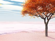 Early snow. An early snow catches a tree with its leaves still on (3d render Stock Photo