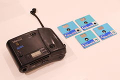Early Sony Digital Camera and its Storage Discs on Display. A 1988 MVC-C1 Mavica digital camera displayed at an exhibition held at the Sony Building in Ginza stock images