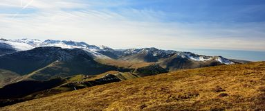 The ridges and valleys of the Cumbrian Mountains. Early Spring on the Derwent Fells Stock Images