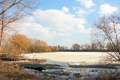 Early spring, the forest lake is freed of ice Stock Photography