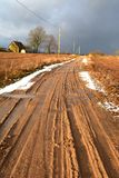 Early Spring Gravel Road In Village Stock Photo