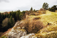 Early Spring Hill Landscape in the Franconian Swiss Royalty Free Stock Image