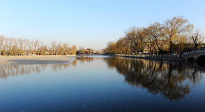 Early spring in Houhai lake, Beijing. Houhai is a lake and its surrounding district in central Beijing, one of the three bodies of water composing the Shichahai stock image