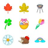 Early spring icons set, cartoon style. Early spring icons set. Cartoon set of 9 early spring vector icons for web isolated on white background Stock Photography