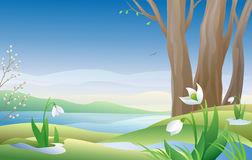 Early spring. Illustration of an early spring morning with snowdrops Royalty Free Stock Image