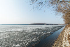 Early spring, just thawed lake shore Royalty Free Stock Photography