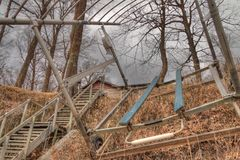 Early Spring at the Lake Cabin is still cold with some Ice on th. E Lake and dead Grass royalty free stock image