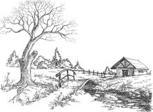 Early spring landscape vector illustration