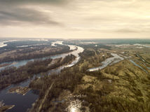 Early spring landscape from above. Aerial view. Stock Image