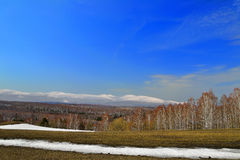 Early spring landscape. Bright spring panorama. The snow melts on the meadow, swollen buds on the trees.  Nature wakes up. On the background is the ridgeline of Stock Image