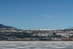 Early spring landscape of frozen Columbia Lake Regional District of East Kootenay CanadaÑŽ. Early spring landscape of frozen Columbia Lake Regional District of royalty free stock photography
