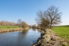 Early spring landscape with green meadow, river and trees Royalty Free Stock Photos