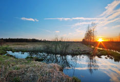 Early spring landscape with the river Royalty Free Stock Photos
