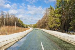 Early spring landscape with road Stock Photography