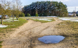 Early spring. Landscape, road and pool Royalty Free Stock Image