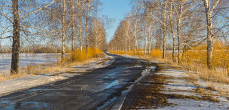 Early spring landscape with rural road Stock Photo