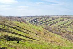 Early spring landscape with soil erosion Royalty Free Stock Photos