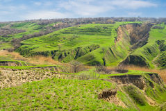 Early spring landscape with soil erosion Royalty Free Stock Photography