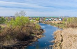 Early spring landscape with Ukrainian river Sura Royalty Free Stock Image