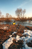 Early spring landscape with wooden boat Royalty Free Stock Photos