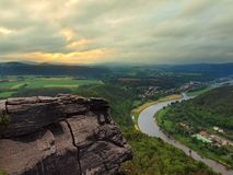 Early spring morning above big river after rainy n stock images