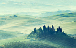 Early spring morning in Tuscany stock images