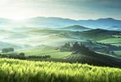 Early spring morning in Tuscany, Italy stock photo