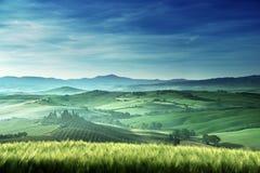 Early spring morning in Tuscany, Italy stock photos