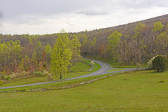 Early Spring on a Mountain Highway Royalty Free Stock Photo