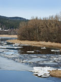 Early Spring - Mountain River With A Flying Ice Stock Photos