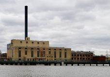 Blackhawk Generating Station. This is an early Spring picture of the historic Blackhawk Generating Station along the Rock River located in Beloit, Wisconsin in a stock images