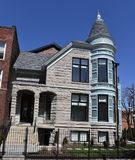 Limestone Queen Anne. This is an early Spring picture of a historic House located in the Lakeview neighborhood of Chicago, Illinois in Cook County.  This three Royalty Free Stock Images