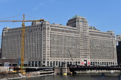 Chicago Merchandise Mart. This is an early Spring picture of the iconic Chicago Merchandise Mart located on the North Bank of the Chicago River in Chicago royalty free stock photos