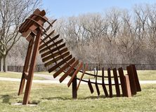 Bridge to the Next Millennium. This is an early Spring picture of a piece of public art titled: Bridge to the Next Millennium on display at the Skokie Northshore royalty free stock photo