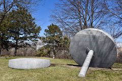 Time Flies. This is an early Spring picture of a piece of public art titled: Time Flies, on display at the Skokie Northshore Sculpture Park located in Skokie Stock Photos