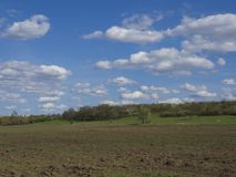 Early spring Prague landscape with brown field, green grass, trees with fresh lush leaves and blue sky, white fluffy clouds stock image