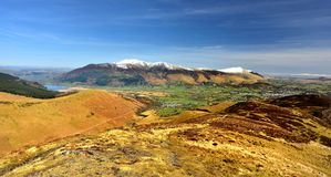 Looking over Bassenthwaite to Skiddaw. Early Spring on Skiddaw and Blencathra Royalty Free Stock Images