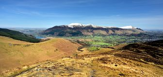 Looking over Bassenthwaite to Skiddaw. Early Spring on Skiddaw and Blencathra Stock Photo