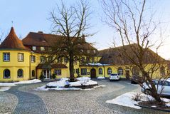 Early spring in small village in Germany Stock Photos