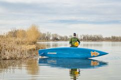 Early spring stand up paddling stock photos